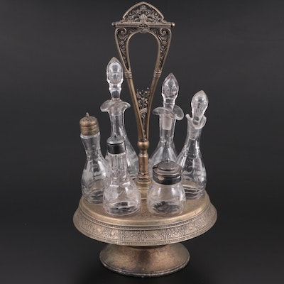 Simpson, Hall, Miller & Co. Aesthetic Movement Silver Plate Cruet Set, Late 19th