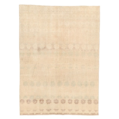 6'1 x 8'5 Hand-Knotted Turkish Oushak Wool Area Rug