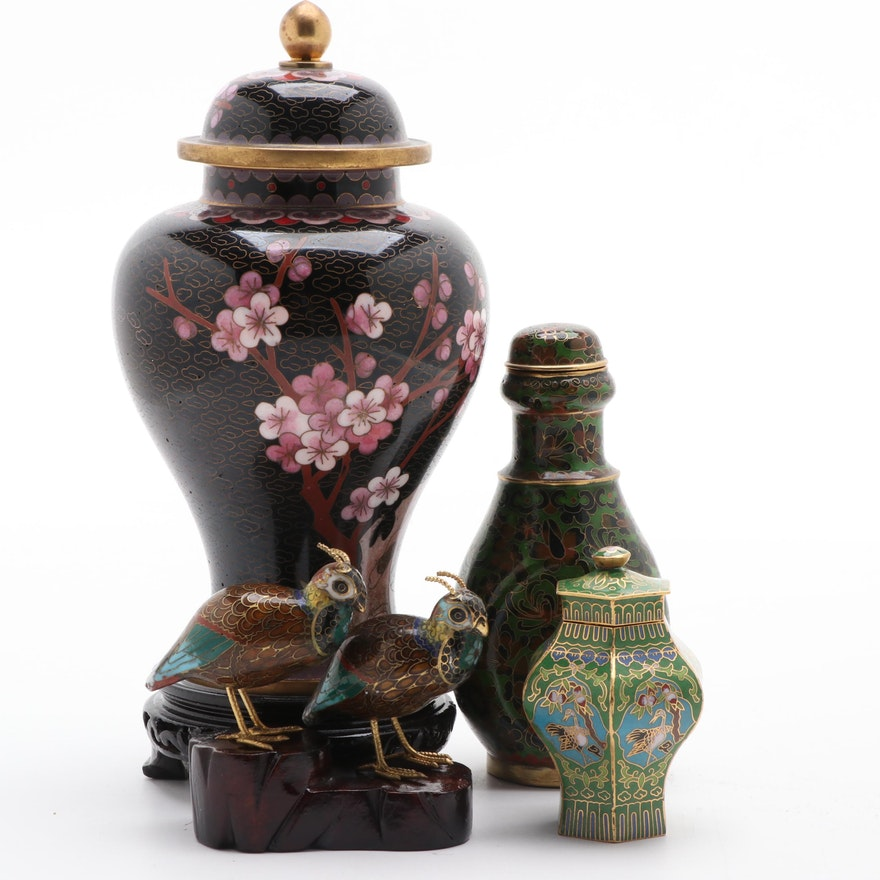 Chinese Cloisonné Lidded Vessels and Bird Figurines