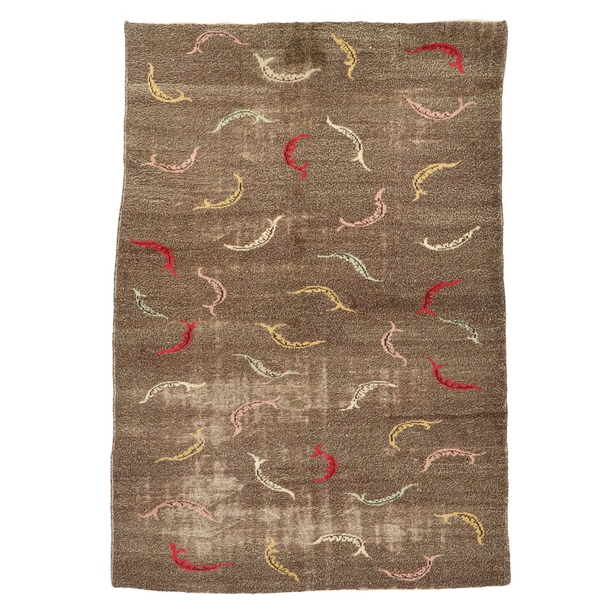 6'4 x 9'7 Hand-Knotted Turkish Wool Area Rug