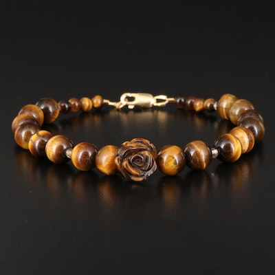 Tiger's Eye and Topaz Beaded Bracelet with Carved Flower Accent