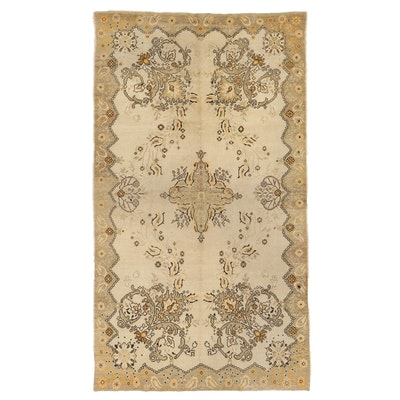 5'10 x 10'4 Hand-Knotted Turkish Oushak Wool Area Rug