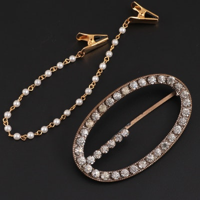 Rhinestone Buckle and Faux Pearl Gold-Tone Sweater Clips