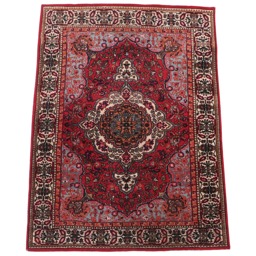 5' x 6'9 Hand-Knotted Persian Farahan Wool Area Rug