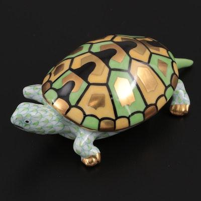 """Herend Key Lime Fishnet """"Turtle"""" Porcelain Figurine"""