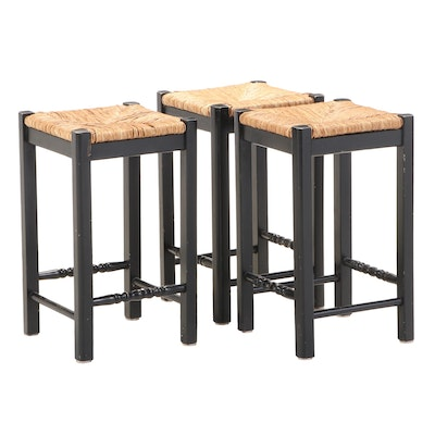 Three American Primitive Style Ebonized Stools