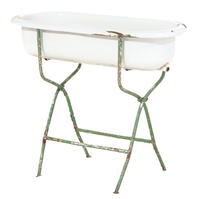 Zim Enamelled Metal Baby Bath on Stand, Mid-20th Century