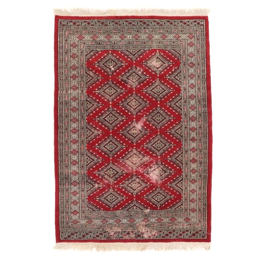 4'1 x 6'3 Hand-Knotted Pakistani Wool Area Rug
