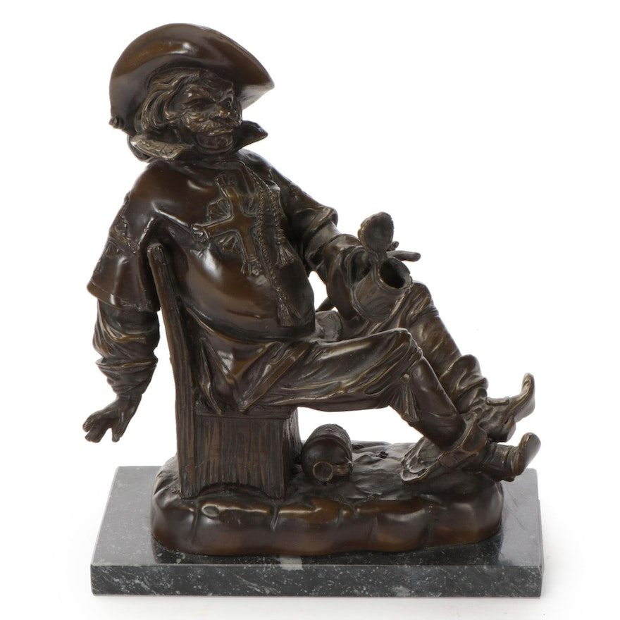 Brass Sculpture of a Musketeer with Stein