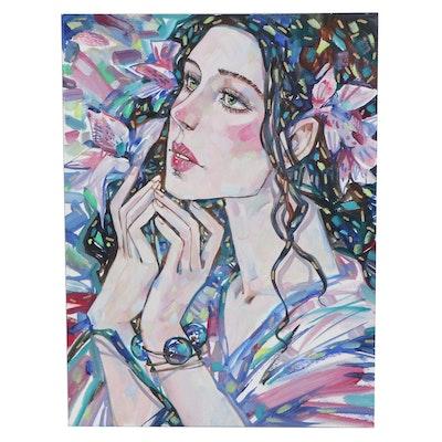 Maria Ramazanova Stylized Mixed Media Painting of Woman, 2021