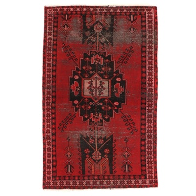 3'11 x 6'5 Hand-Knotted Hamadan Wool Area Rug