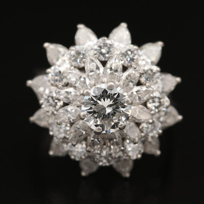 Platinum Tiered 3.32 CTW Diamond Ring with GIA Report