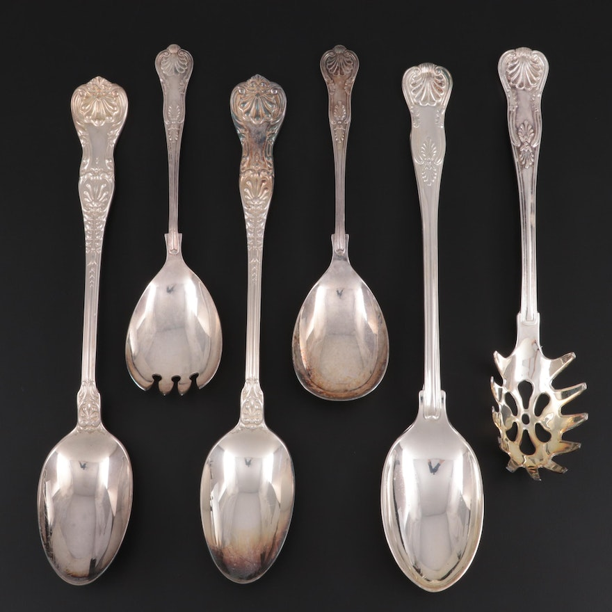 """Gorham """"Kings"""" F.B. Rogers, and Other Silver Plate Serving Utensils"""