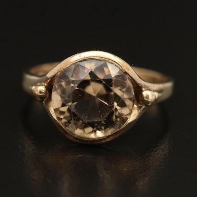 Vintage 8K Smoky Quartz Solitaire Ring