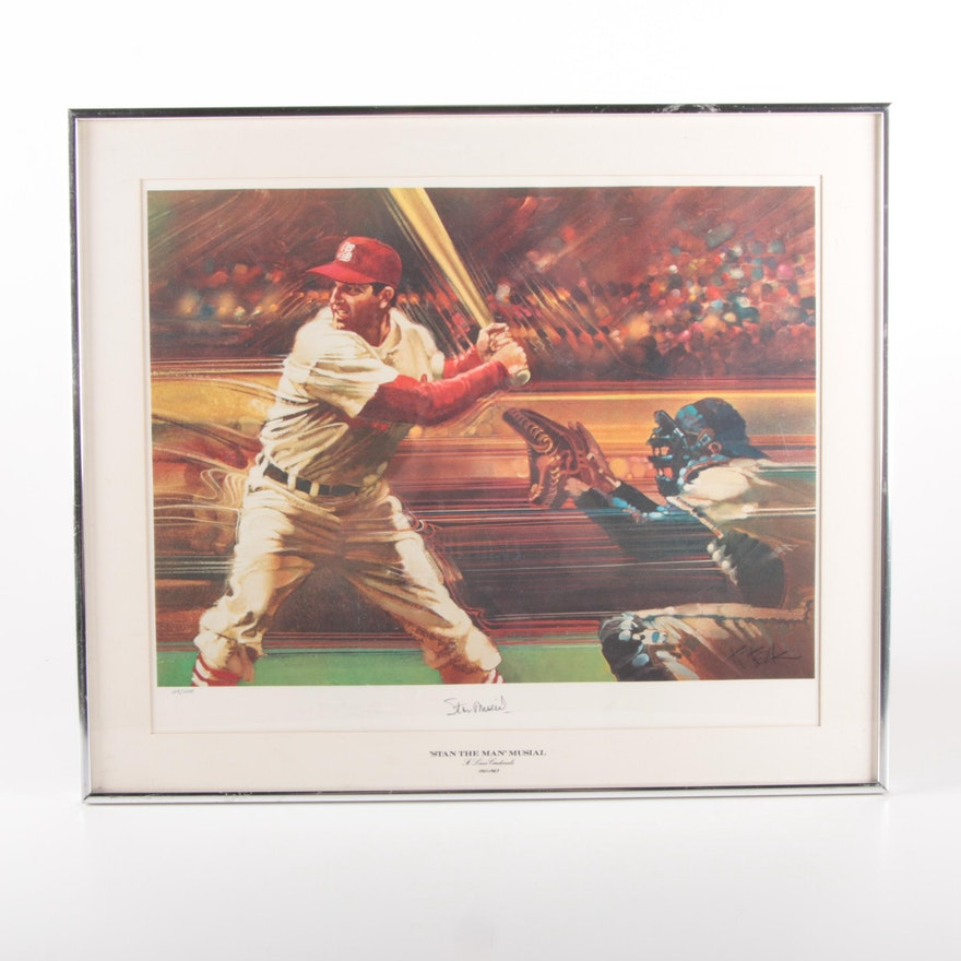 """""""Stan The Man Musial"""" Signed Framed Offset Lithograph, SGC COA"""