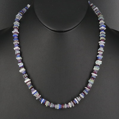 Topaz, Garnet, Amethyst and Lapis Lazuli Beaded Necklace