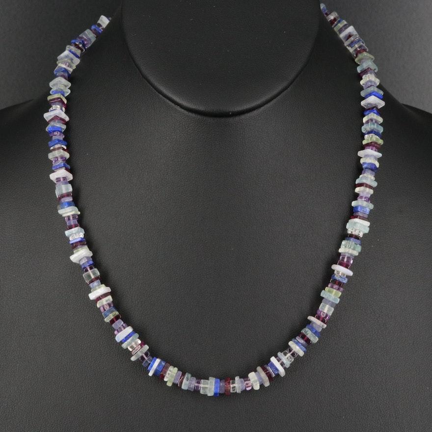 Topaz, Garnet, Amethyst and Lapis Lazuli Beaded Necklace