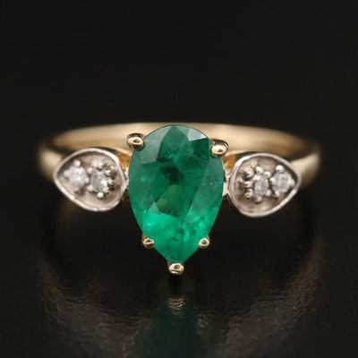 14K Quartz and Diamond Ring