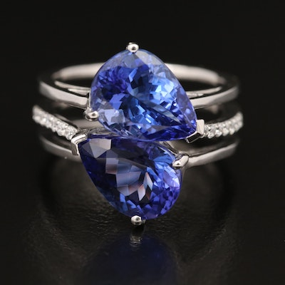 14K 7.00 CTW Tanzanite and Diamond Toi et Moi Ring
