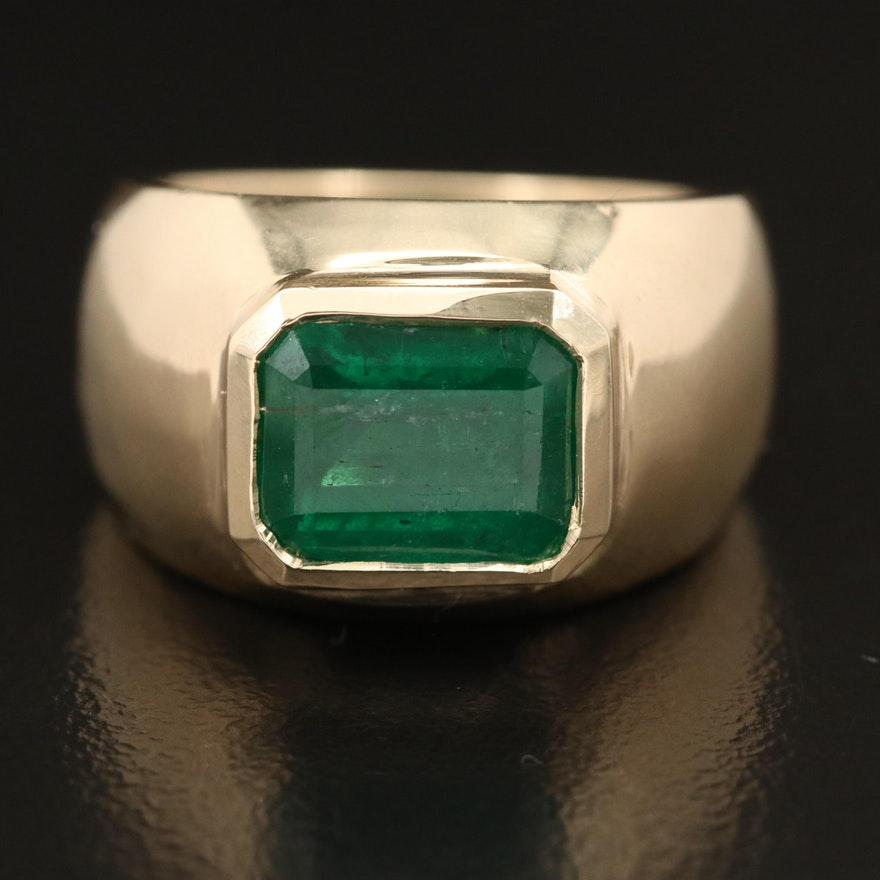 14K Bezel Set 2.63 CT Emerald Solitaire Ring
