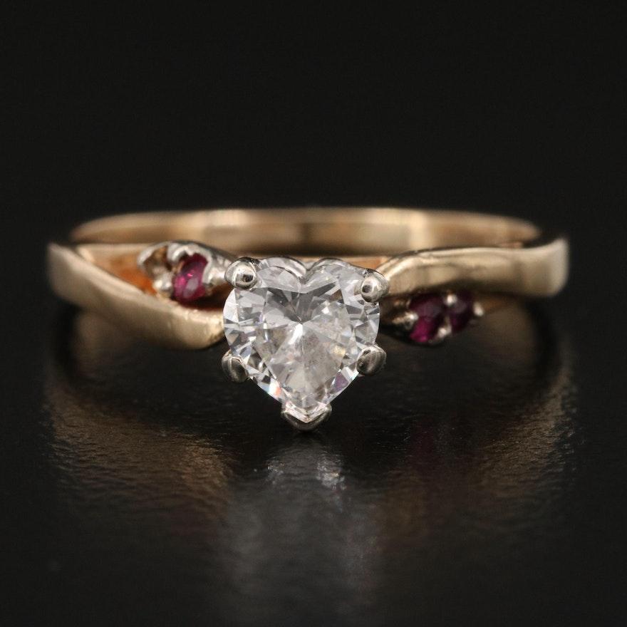 14K Diamond and Ruby Heart Ring
