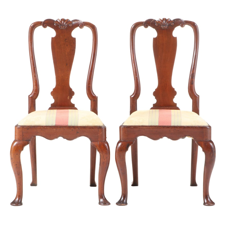 Pair of George II Walnut Side Chairs, Possibly American, Mid-18th C.