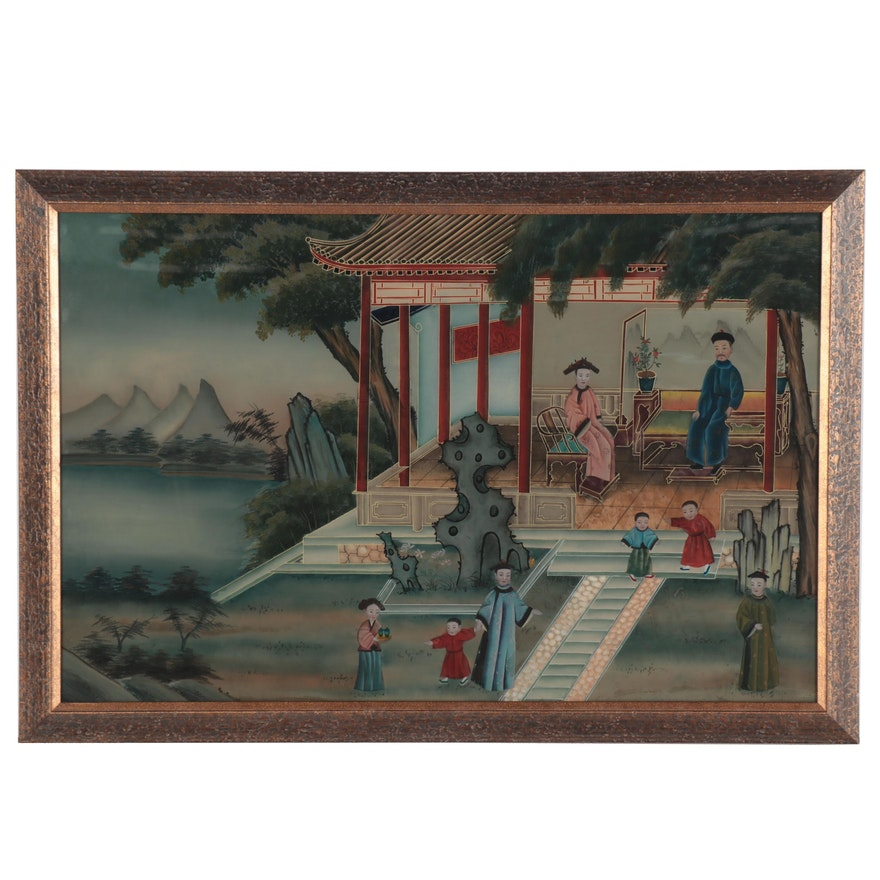 Chinese Reverse Glass Painting, 20th Century