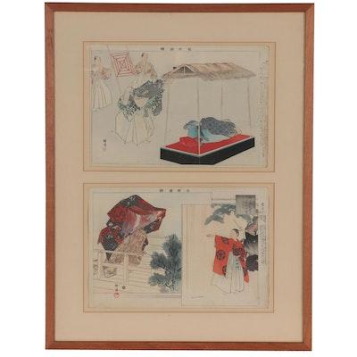 Tsukioka Kōgyo Woodblocks of Noh Theatre Scenes, circa 1900