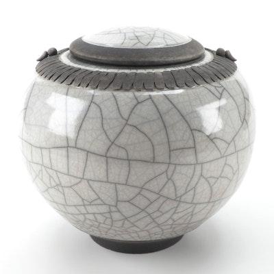 Mike Bose Raku Fired Lidded Jar, 2001