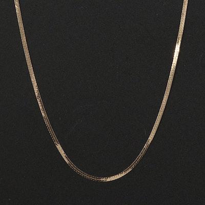 Italian 14K Herringbone Chain Necklace