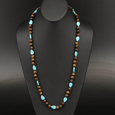 Tiger's Eye and Turquoise Beaded Necklace with Sterling Clasp