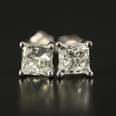 Platinum 2.19 CTW Solitaire Diamond Stud Earrings with GIA eReports