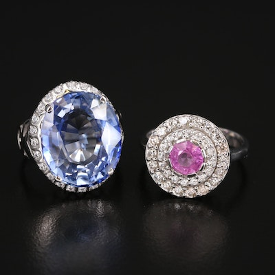 Sterling Sapphire and Gemstone Rings