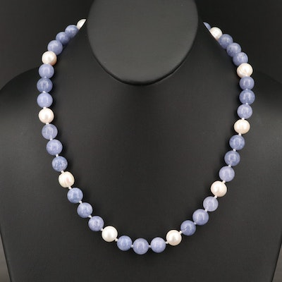 Quartz and Pearl Necklace with Sterling Clasp