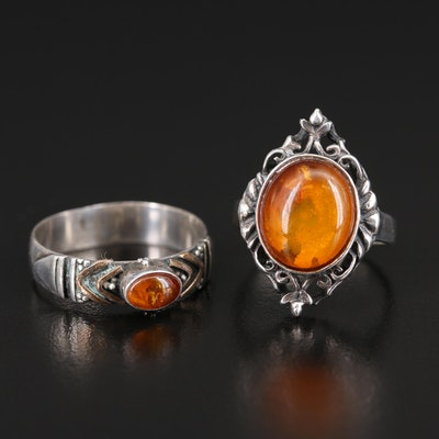 Sterling Amber Rings