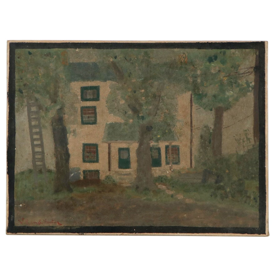 Naïve Style Oil Painting of House