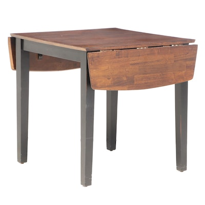 Contemporary Parcel-Ebonized Drop-Leaf Table