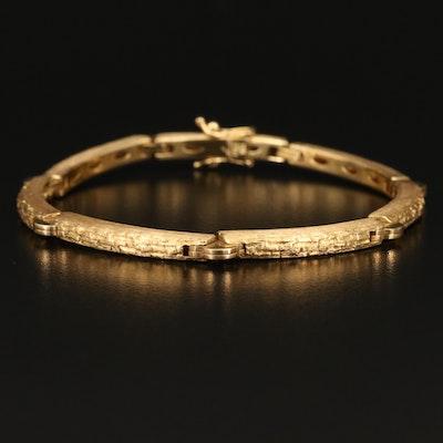 18K Textured Bar Link Bracelet