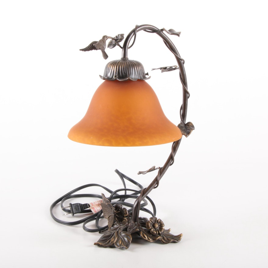 Art Nouveau Hummingbird Accent Lamp with Amber Glass Shade
