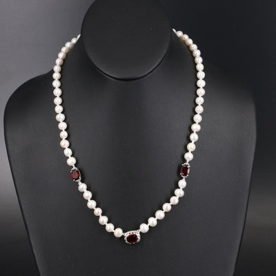 Pearl Necklace with Sterling Garnet Stations