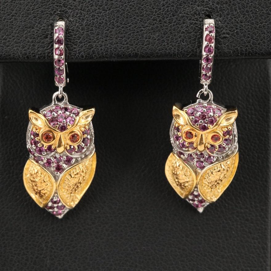 Sterling Garnet and Sapphire Owl Earrings