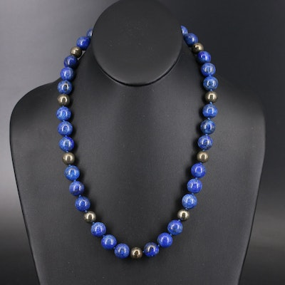 Lapis Lazuli and Pyrite Beaded Necklace with Sterling Clasp