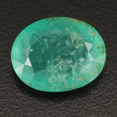 Loose 11.18 CT Oval Faceted Emerald