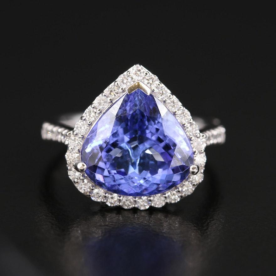 18K 5.82 CT Tanzanite and Diamond Halo Ring