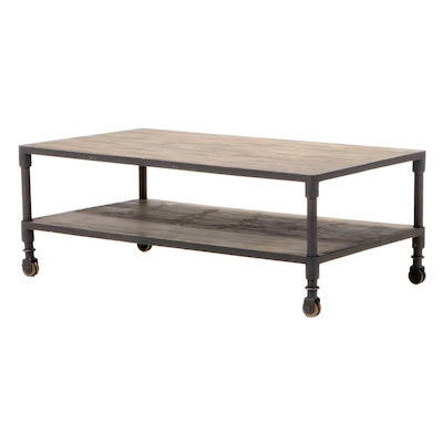 E. & E. Co. Ltd Industrial Style Patinated Metal and Wood Two-Tier Coffee Table