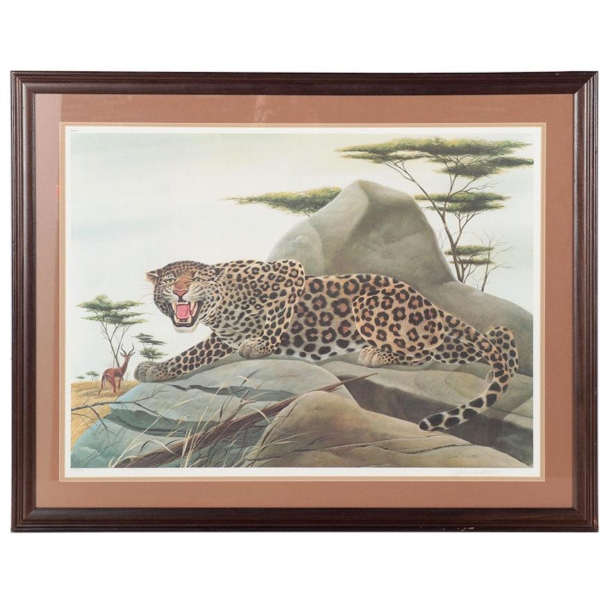 """John Ruthven Offset Lithograph """"Leopard,"""" 1975"""
