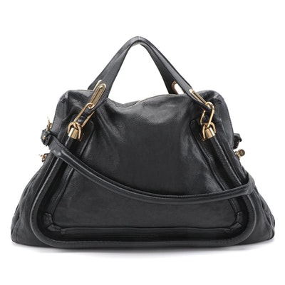 Chloé Paraty Two-Way Satchel in Black Pebbled Leather