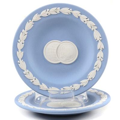 Wedgwood Blue Jasperware Plates, Late 20th Century