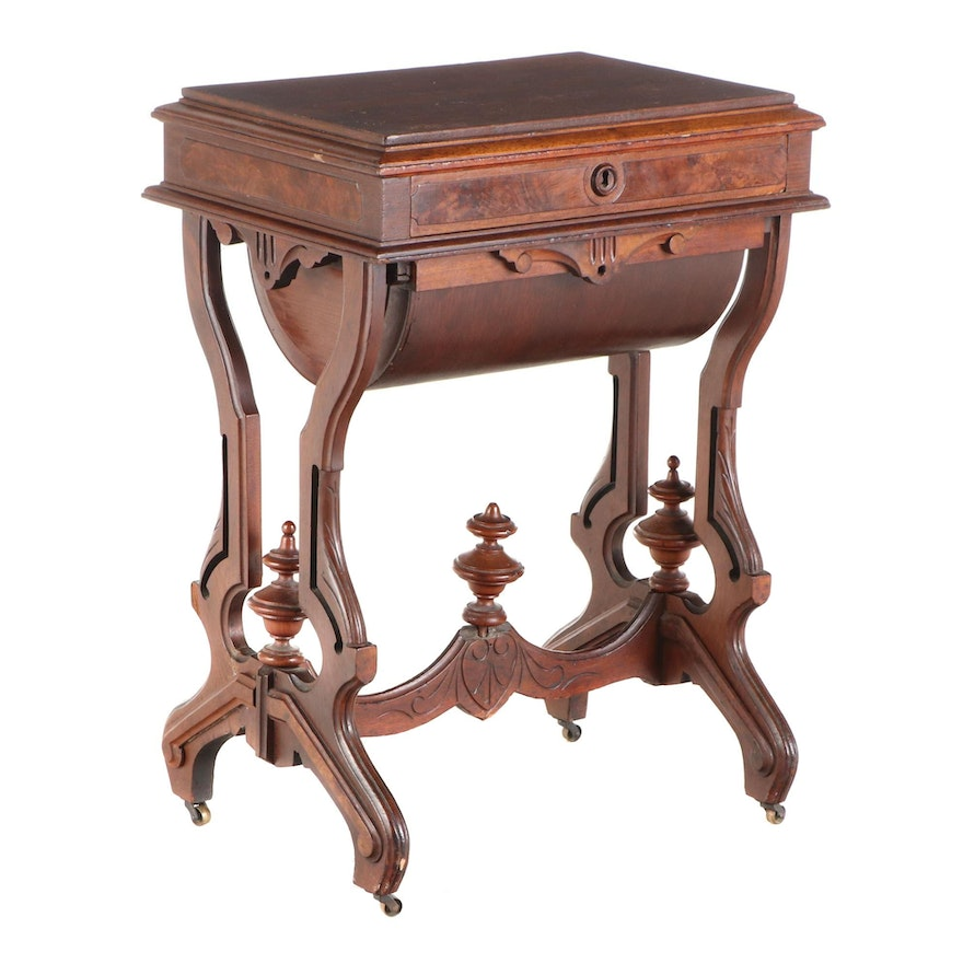 Victorian Walnut and Burl Walnut Sewing Table, Late 19th Century