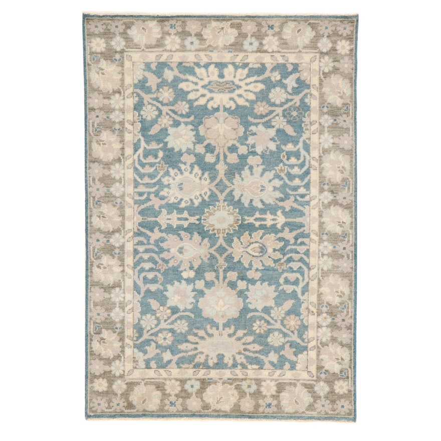 3'10 x 5'9 Hand-Knotted Indo-Turkish Oushak Rug, 2000s